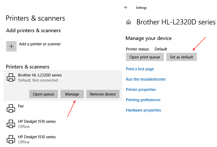 Set Priner as default in Windows 10