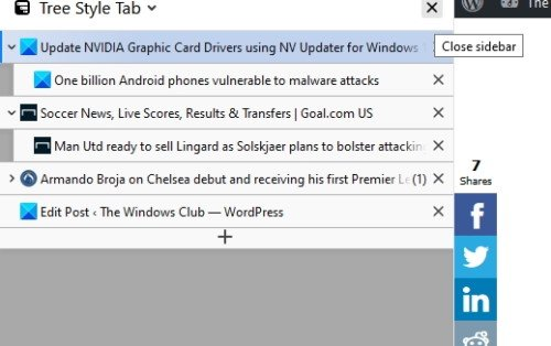 Tree Style Tab addon for Firefox
