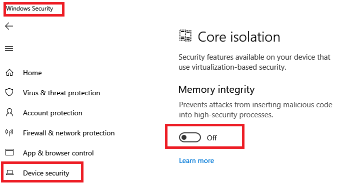 Turn off Memory Integrity Core Isolation Windows Security
