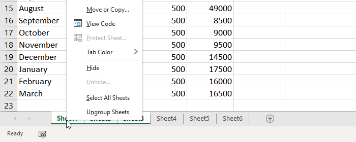 Ungroup Worksheets in Excel