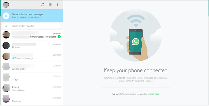 Using WhatsApp in Edge browser