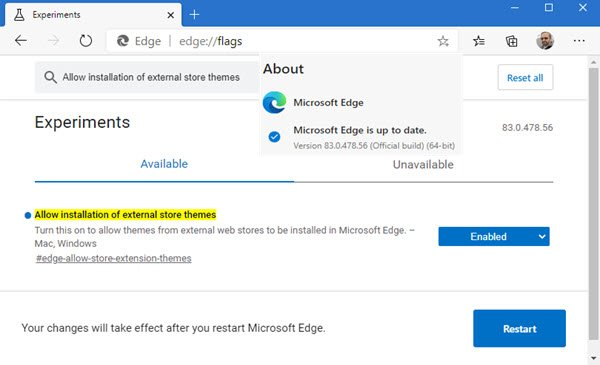 install Chrome Themes on Microsoft Edge