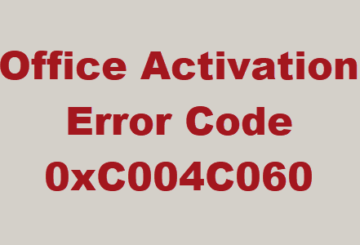 Error Code 0xC004C060 when activating Office
