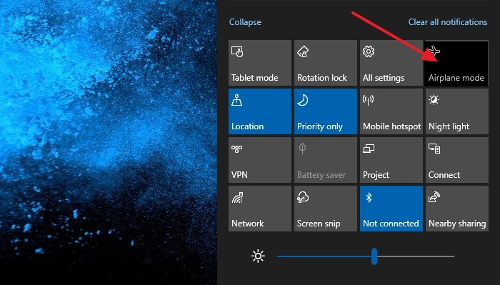 Airplane mode greyed Windows 10