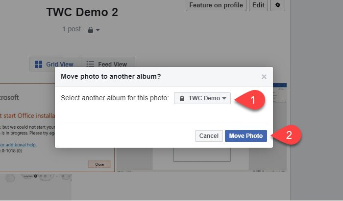 Move Facebook image from one Album to another