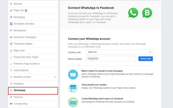 Connect WhatsApp to Facebook page