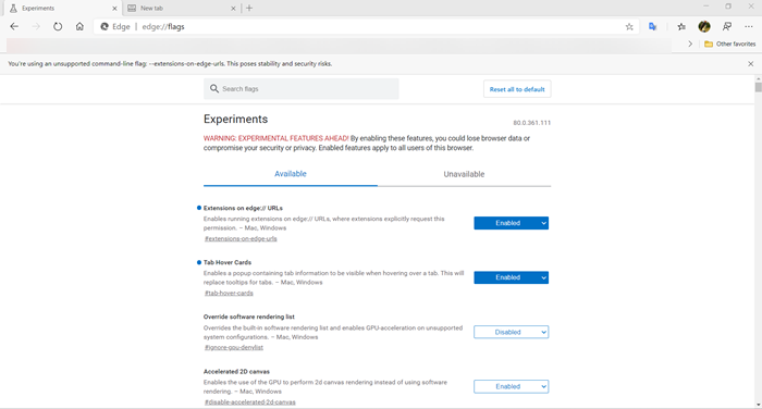 Microsoft Edge about:flags Settings page