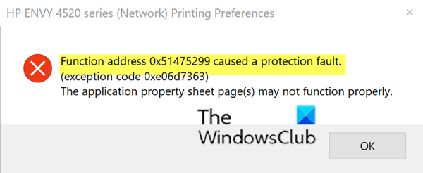 Function address caused a protection fault