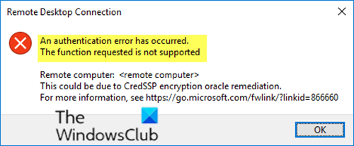 RDP connection error: Authentication error has occurred