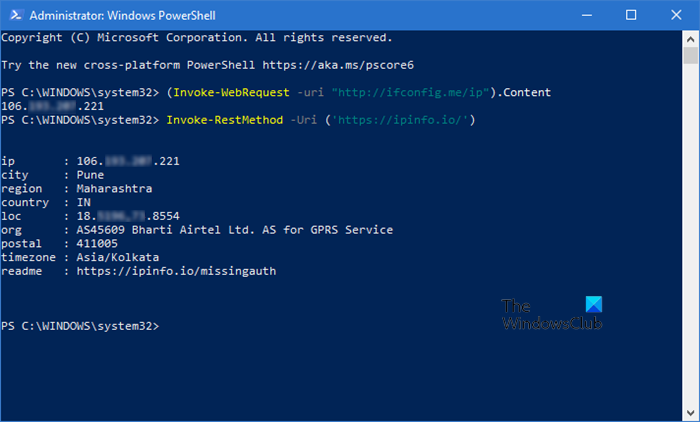 Get Public IP address using PowerShell