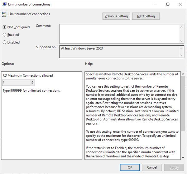 Limit the number of Remote Desktop Connections in Windows 10