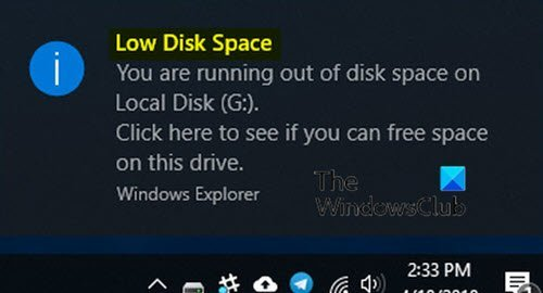 Low Disk Space error due to a full Temp folder