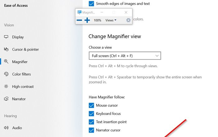 Keep Magnifier mouse cursor in the center of the screen