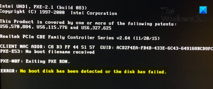 No boot disk has been detected or the disk has failed