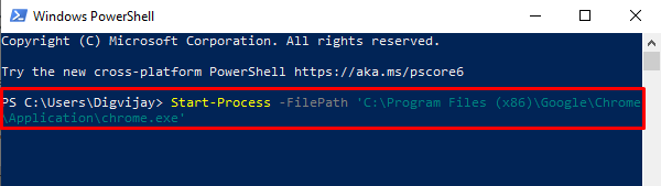 Open Chrome using PowerShell Command