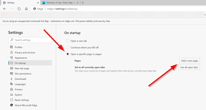 How to set a single or multiple homepages in Edge browser