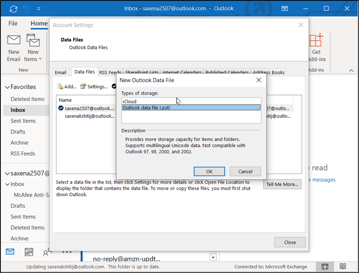 An unknown error has occurred 0x80040600 in Outlook