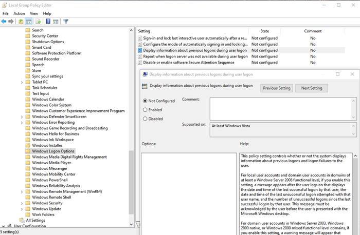 Group Policy Method to disable the Security policies interactive sign-in message