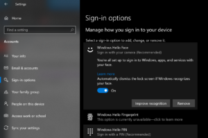 How to Automatically dismiss the lock screen if Windows recognizes your face