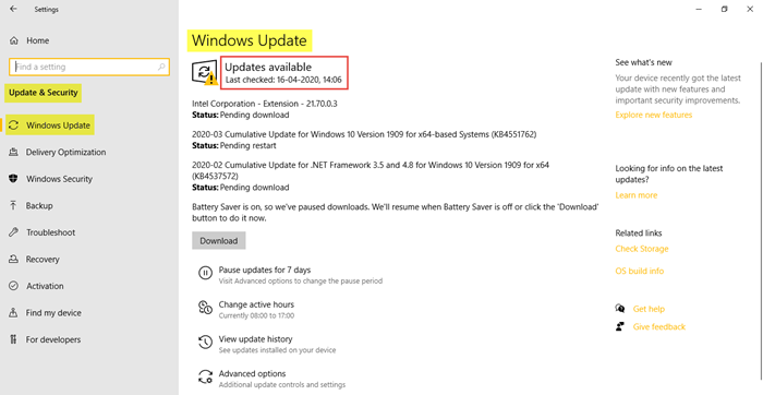 Windows Update and Security settings in Windows 10