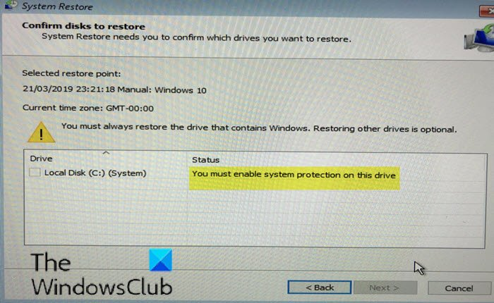 You must enable system protection on this drive - System Restore error