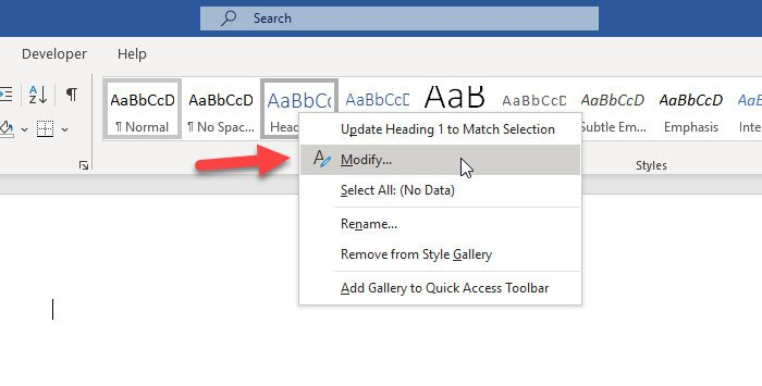 How to change default Heading, Quote, Title font in Word