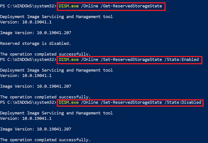 DISM Commands to Enable or Disable Reserved Storage in Windows 10