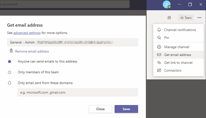email microsoft teams