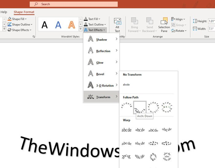 How to curve text in PowerPoint