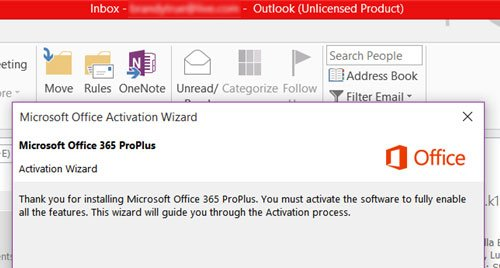 Microsoft 365 Unlicensed Product error on Office apps