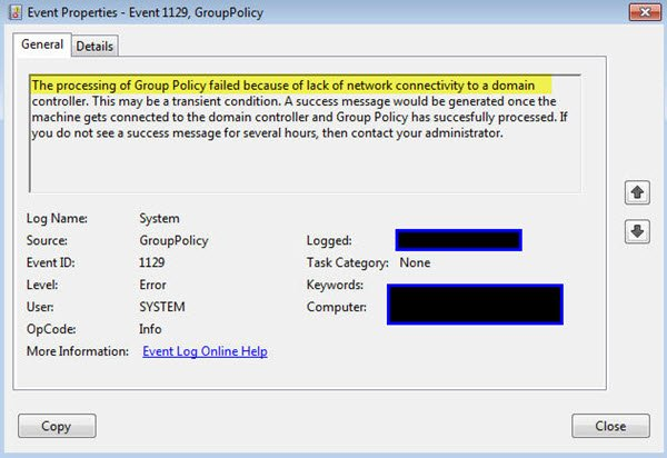 The processing of Group Policy failed because of lack of network connectivity to a domain controller