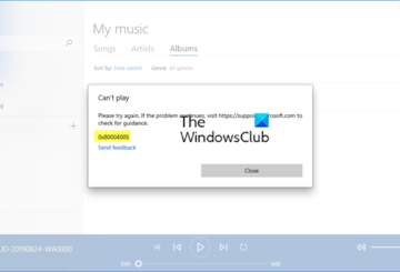 Error 0x80004005 when playing music in Groove Music