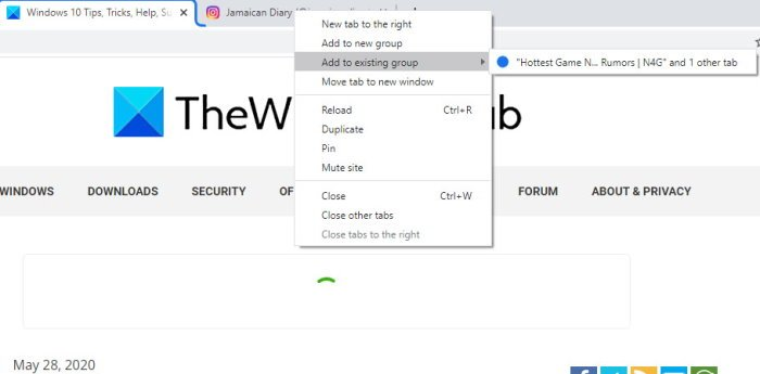 Enable Tab Groups in Chrome browser