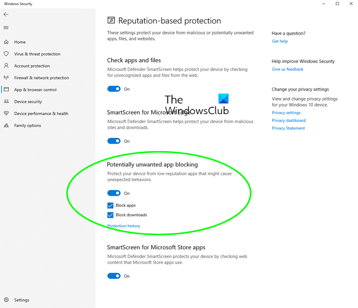 Block potentially unwanted applications windows 10