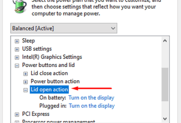 Change Laptop LID OPEN ACTION in Windows 10.