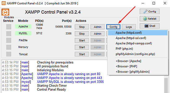 Apache not starting from XAMPP Control Panel