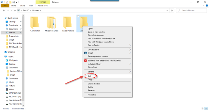 How to move Files or Folders in Windows 10