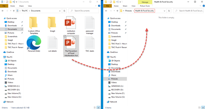 How to move Files and Folders in Windows 10