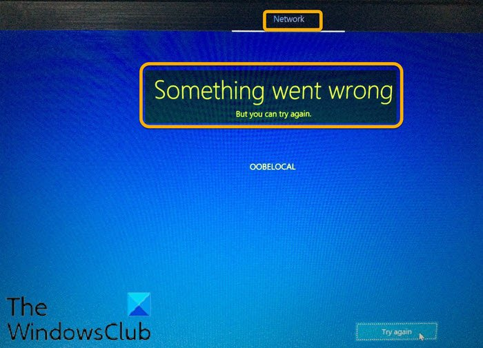 Windows 10 OOBE fails with error causing incomplete setup