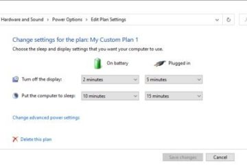Power Plan Settings in Windows 10