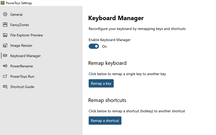 PowerToys Run and Keyboard Manager PowerToy