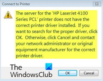 The server for the printer does not have the correct printer driver installed