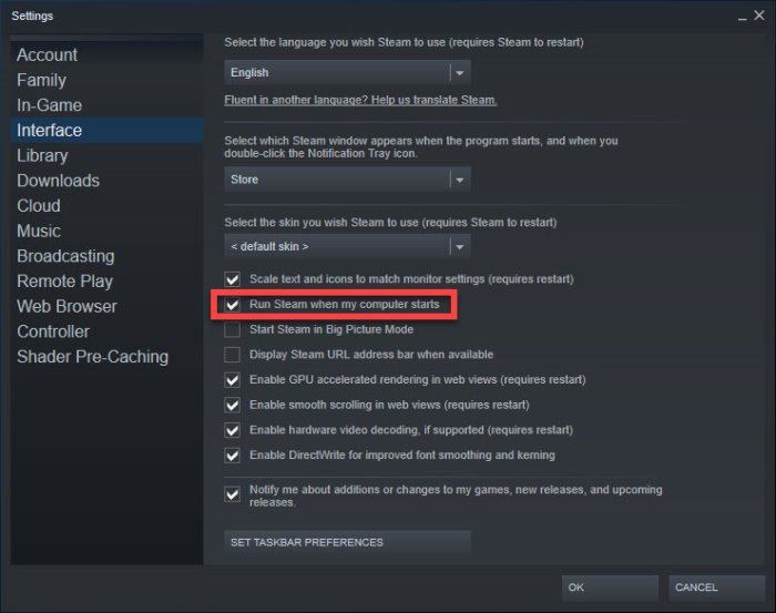 Stop Steam from launching automatically