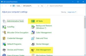 How to add All Tasks and Disk Management to Control Panel