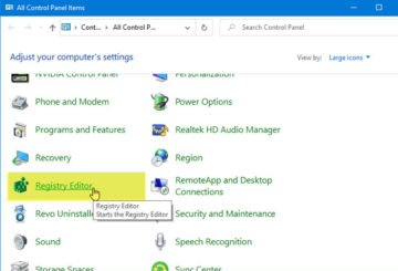 How to add Registry Editor to Control Panel in Windows 10