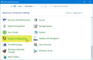 How to add System Configuration to Control Panel