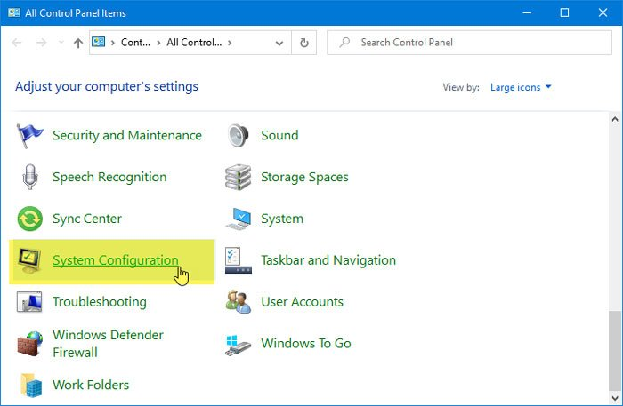 Add System Configuration Tool to Control Panel