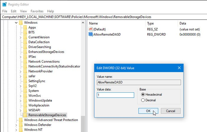How to allow direct access to Removable Storage in Remote Sessions on Windows 10
