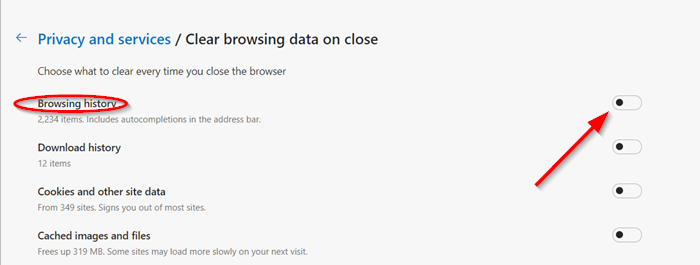 clear browsing data on close