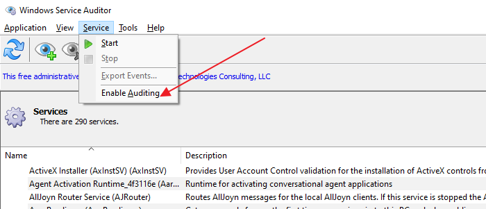 enable auditing advanced windows services